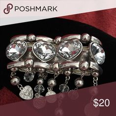Bling stretch bracelet with crystal hearts Stretch bracelet with crystal hearts and dangling charms. Unique piece Jewelry Bracelets