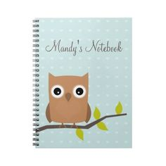 Owl sitting on a branch notebook (48 BRL) ❤ liked on Polyvore featuring home, home decor, stationery and notebook