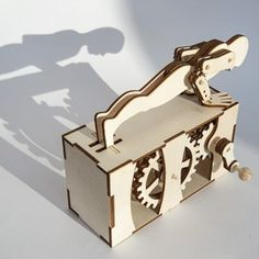 Make your own Press-Ups automata from laser-cut wood. Download the three a4 size parts pdfs from the the link. Import the files into your software of choice and cut out the parts from 3mm plywood o…