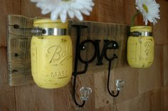 Yellow Love board with hooks and mason jars wall decor. $37.00, via Etsy. bathroom