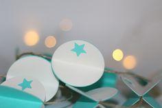 Guirlande en papier, cercles en 3D, guirlande beige et turquoise : Décorations murales par byhome