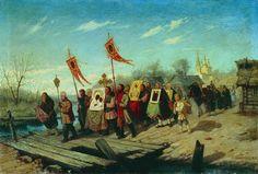 Русский художник Леонид Соломаткин (1837-1883). Крестный ход. 1882