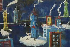 Per Nylén - Oljemålningar Stockholm - Hus på moln 11