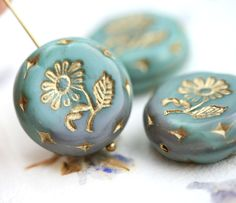 22mm Sage Green Flower Focal bead, Gold wash, Czech glass Round tablet floral ornament beads, mixed color - 1pc - 0796 by MayaHoney on Etsy