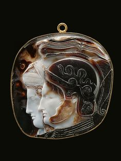 Cameo with portrait heads. Hellenistic, 278–269 B.C. Greek, Ptolemaic. Sardonyx, 4 1/2 × 13/16 in. (11.5 × 2 cm). I Kunsthistorisches Museum