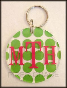 Round Keychain with Polka Dot Design and by PiperGraceGifts