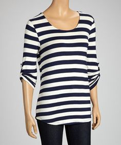 Take a look at this Navy & Natural Stripe Top by Faith and Joy on #zulily today!