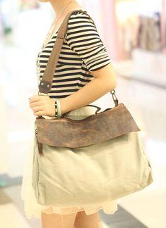 2012 exports Korea foreign trade canvas leather leisure wave distribution package art shoulder bag Messenger bag ladies large fan pack