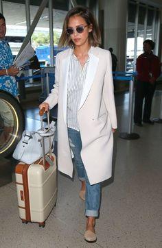 Jessica Alba Photos - Jessica Alba Arriving on a Flight at LAX - Zimbio