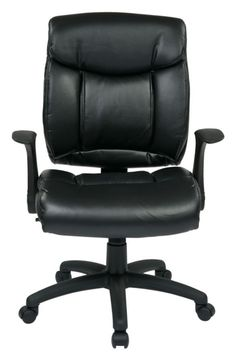 FL Series Black Faux Leather Flip Arms Managers Chair