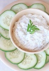 Tzatziki Sauce    Ingredients:        2 cups plain low fat Greek yogurt or Yogurt Cheese      1/2 English cucumber with peel, grated (about 1/2 – 3/4 cup)      1 – 2 cloves garlic, minced      1 – 2 tbsp fresh lemon juice      1 tbsp olive oil      1 tsp grated lemon zest      1 tbsp fresh chopped dill or 1 tsp dried      1 tsp sea salt      1 tsp fresh ground black pepper