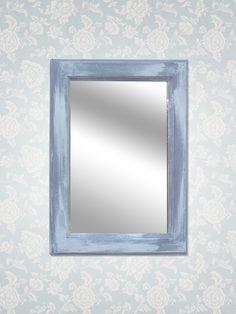 Specchio con cornice colorata dipinto con colori Annie Sloan in stile shabby chic, finitura a cera.