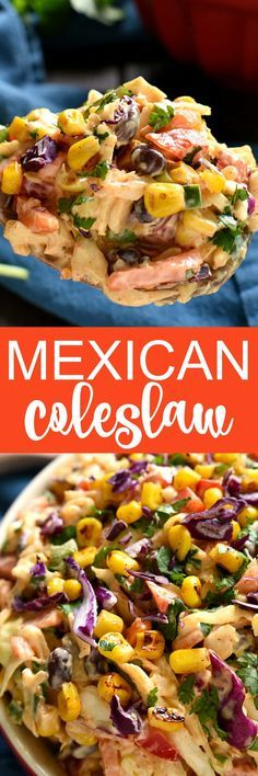 Taco Salad meets coleslaw in this deliciously creamy Mexican Coleslaw! Packed with flavor and perfect for summer cookouts! Taco Salad meets coleslaw in this deliciously creamy Mexican Coleslaw! Packed with flavor and perfect for summer cookouts! Mexican Dishes, Mexican Food Recipes, Vegetarian Recipes, Cooking Recipes, Healthy Recipes, Mexican Slaw, Mexican Chicken, Taco Salad Recipes, Mexican Cole Slaw Recipe