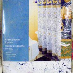 NEW Pretty FABRIC Shower Curtain with Bold Navy Blue and Gold on white #Coliseum #Ornamental