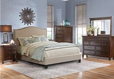 picture of Mango Burnished Walnut 5 Pc Queen Upholstered Bedroom  from Queen Bedroom Sets Furniture