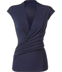 Donna Karan Night Blue Essential Jersey Cap Sleeve Plunge V Draped Top
