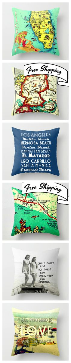 Beach Decor and Map Pillows