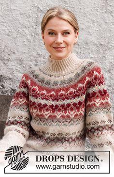 Mistletoe Muse / DROPS 217-1 - Ilmaiset neuleohje DROPS Designilta Drops Design, Fair Isle Knitting, Free Knitting, Cowichan Sweater, Rowan Yarn, Sweater Knitting Patterns, Crochet Patterns, Fair Isle Pattern, Knit Picks