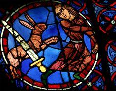 Cathédrale Notre Dame de Paris, rose ouest. Vitrail de la faiblesse