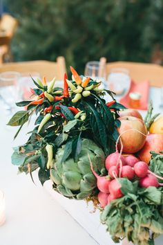 Edible Table Centre pieces made of brightly coloured fruits & vegetables - Image by Parkershots - Saja Wedding Dress For A Contemporary Eco Friendly Los Angeles Wedding At Elysian With A Chinese Tea Ceremony And Images By Parkershots