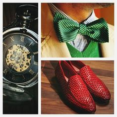 It's all about gentleman's style! #gentleman #style #carlopazolini #cp #watch #time #tie #green #red #shoes #fashion #picoftheday #handsome #man