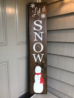Reversible porch sign/HAPPY FALL Y'ALL/Let it snow/Sweet Summer Time/Hello Spring/porch sign/holiday porch decor/rustic deco Reversible porch sign/HAPPY FALL Y'ALL/Let it snow/Sweet let it snow/snowman Christmas Wood Crafts, Christmas Signs Wood, Holiday Signs, Christmas Porch, Christmas Decorations, Xmas, Primitive Christmas, Outdoor Christmas, Country Christmas