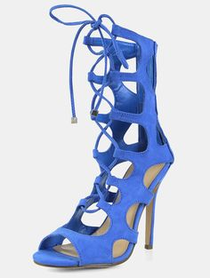 Online shopping for Open Toe Lace Up Caged Stiletto Heels BLUE from a great selection of women's fashion clothing & more at MakeMeChic.COM.