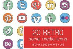 Retro Social Media Icons by Little Star Creative on Creative Market