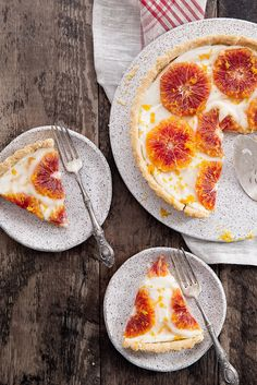Candied Ginger Blood Orange Tart: A flakey tart with cream cheese filling and topped with candied ginger blood oranges.