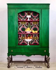 Here at Second Chance Studios we specialize in beautiful hand painted vintage furniture and decor. Green Furniture, Funky Furniture, Refurbished Furniture, Paint Furniture, Repurposed Furniture, Vintage Furniture, Bright Painted Furniture, Furniture Design, Hand Painted Furniture