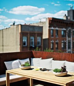 The couple worked with landscape firm Staghorn Design Studio for the plantings on their rooftop terrace, where an Elan dining table from ...