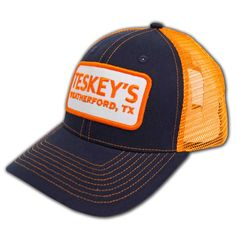 96600aea9a540 Teskey s orange and blue mesh ball cap with snap back is the perfect  accessory to add to your collection! Teskey s Boutique