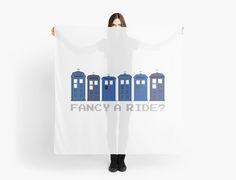 'Fancy a ride?' Scarf by nath-gary Geek Fashion, Tardis, Doctor Who, V Neck T Shirt, Sci Fi, Classic T Shirts, Nerd, Geek Stuff, Fancy