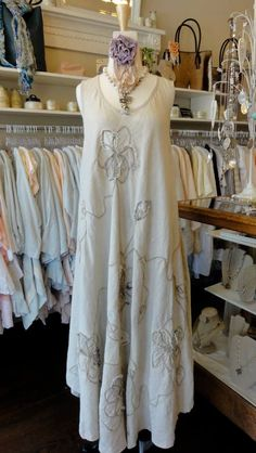 Mara Gibbucci Long Dress with Flower in Natural. fb.com/mimibellafinelinenwear