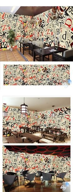 Retro newspaper theme space entire room wallpaper wall mural decal IDCQW-000034