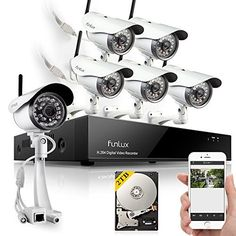 Funlux 8CH NVR 6 Outdoor 1280 720P HD Wireless IP Network Security Camera Home Surveillance System 2TB Hard Drive