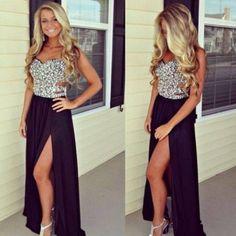 DIYouth Backless Long Black Beaded Cutout Slit Evening Prom Dresses 2015