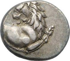 Emidracma (1/2 Dracma) - argento - Tracia, (ca.400-350 a.C.) - protome leonina vs.dx con testa girata indietro - mercato antiquario