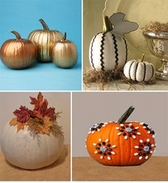"I thought you might enjoy some ""no carve"" pumpkin craft and decorating ideas. Some of us either don't want to deal with the mess or simply are looking for a little something different. A grown up version is always fun!The gold pumpkins are great because I use them for Thanksgiving decorating"