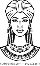 Images, photos et images vectorielles de stock de African beauty: animation portrait of the beautiful black woman in a turban. Vector illustration isolated on a white background. Print, poster, t-shirt, card. African Drawings, African Art Paintings, Art Black Love, Beautiful Black Women, Tupac Art, Afrique Art, Black Anime Characters, Cute Coloring Pages, Animation
