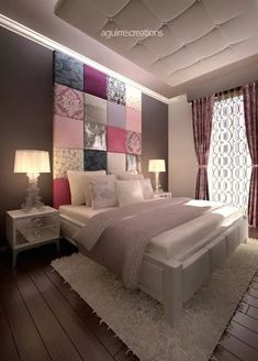 This patchwork wall art interior design by Aguirre Creations challenges what's possible in the bedroom.