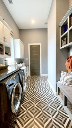Laundry room and mud room decorating ideas Striped tile floor layer in diamond pattern in the laundry room. Built in gray mud room cabinets. Grey Laundry Rooms, Mudroom Laundry Room, Laundry Room Layouts, Laundry Room Design, Storage In Laundry Room, Bathroom Laundry Rooms, Laundry Room With Cabinets, Laundry Room Floors, Small Laundry Area