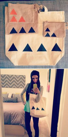47 DIYs For The Cash-Strapped Music Festival-Goer - Put triangles on a tote bag