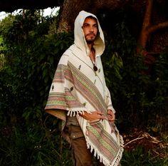 White Poncho with Hood Cashmere Wool Earthy Tribal by AJJAYA