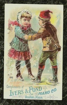 Ivers Pond Piano Co Boston Boy Girl Skating Victorian Trade Card | eBay