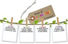 Filastrocche Rime Creatività | Patrizianencinidee Italian Language, Place Card Holders, School, Cards, Studio, Fantasy, Winter Time, Rose Trees, Goals