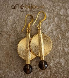 Aflé Bijoux African Earrings Smokey Quartz Earrings #aflebijoux #etsy #bijoux #jewelry