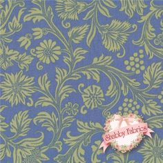 """French Market 8251-07 By Paula Scaletta For Blue Hill Fabrics: French Market is a collection by Paula Scaletta for Blue Hill Fabrics.  100% cotton.  43/44"""" wide.  This fabric features a trailing green floral on a blue background."""