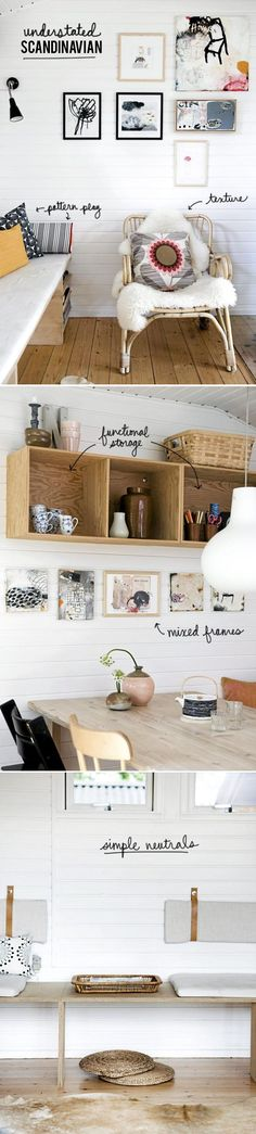 Beautiful, clean scandanavian home decor, interior design. White walls, warm, natural accents and wooden furniture.