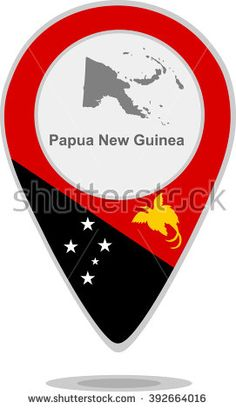 A pointer with map and flag of Papua New Guinea